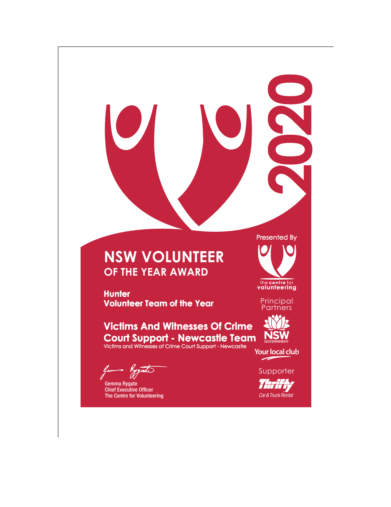 Volunteer Team of the Year certificate from the Centre for Volunteering